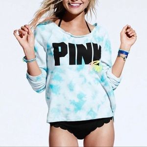 VS PINK off shoulder blue tie-dye sweater 💙